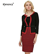 Work Dress Color Stiching Three Quarter Sleeve Pencil Dress With Belt - Red