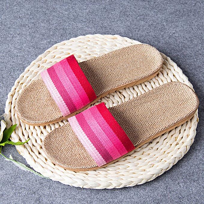 2c2ad498454c birthpar store Women Men Anti-slip Linen Home Indoor Summer Open Toe Flats  Shoes Slippers