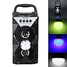 Outdoor Bluetooth Wireless Portable Speaker Super Bass with USB/TF/AUX/FM Radio- Black