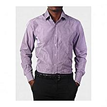 Purple Mens  Long Sleeved Stripped Shirts