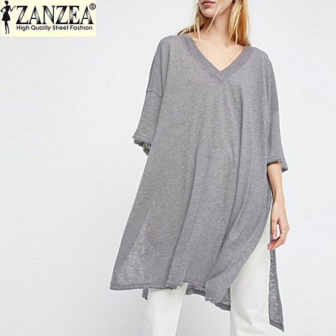 90ecfcc0d1cb ZANZEA Womens Loose Top Shirt Mini Dress Plunge V Neck Half Sleeve Casual  Blouse (Grey