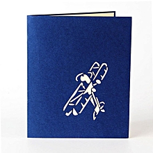 Handmade 3D Greeting Card Popular Festival Airplane Model Postcard Blue Seal blue
