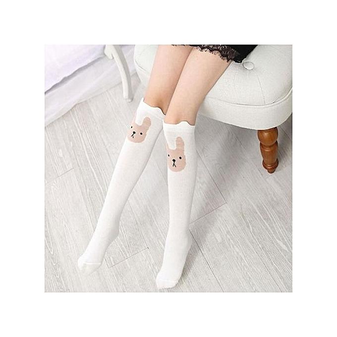 52b107340 ... Children Kids Girl Animal Rabbit Pattern Print Knee High Socks Cute  Socks WH ...