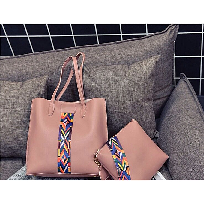 7dce18e14de3 Generic 2 in 1 Faux Leather Handbag with African print detail - Pink ...