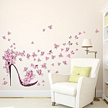 New Butterfly Flower Fairy Stickers Bedroom Living Room Walls-Pink