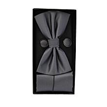 Mens Bow Tie & Hanky Pocket Square Set + Cufflinks Plain Solid Pre-Tied Bow Tie