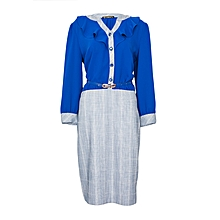 Blue And Grey Checked Dress With A Belt