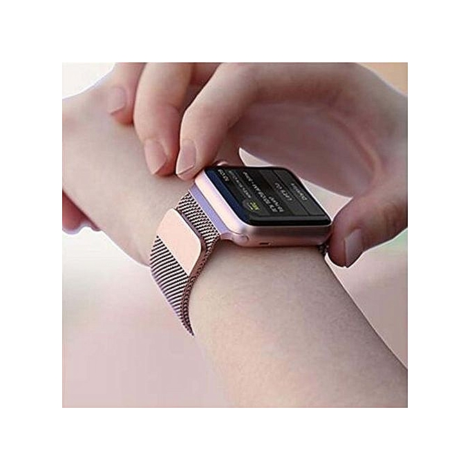 best website cea56 44eba Colour :Rose Gold--Fashion Watch Strap For Apple Watch Band 38mm Milanese  Loop Stainless Steel Mesh Magnetic Wrist Band With Case For IWatch