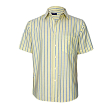 Yellow With Blue & White Stripes Short Sleeved Shirt