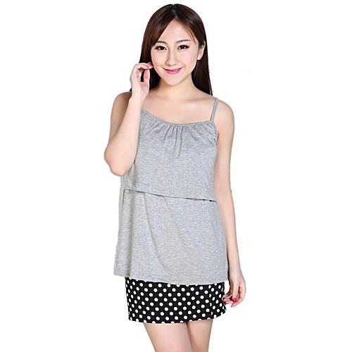 7aa48b1160637 Fashion Pregnant Suspenders Maternity Clothes Nursing Tops Breastfeeding  Vest T-Shirt-(Gray)