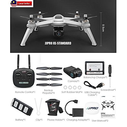 JJRC JJPRO X5 GPS 5G WiFi FPV RC 1080P HD With Brushless Motor( Ready  Stock) (Grey 1 Battery) TXSHOP