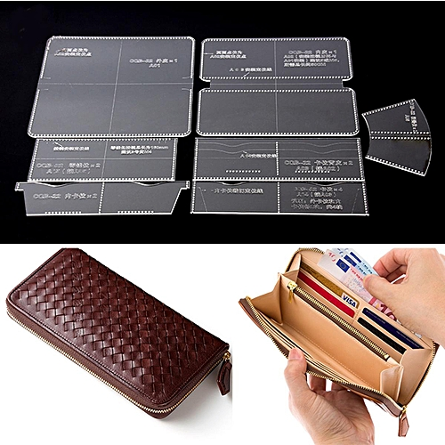 DIY Acrylic Wallet Template Leather Craft Pattern Stencil Zipper Installer Mold