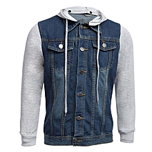 Men's Hooded Detachable Denim Jacket - Blue