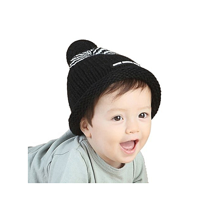5bacba3cd01ca Cute Baby Toddler Stripe Letter Print Fur Ball Knitted Winter Warm Hat Cap  BK-Black
