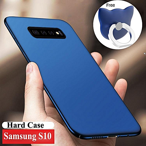 For Samsung Galaxy S10 Hard PC Back Cover Dirt Resistant Phone Casing Shell  Housing With Free Ring Holder (Blue)
