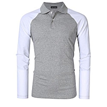 Yong Horse Men's Two Tone Color Blocked Modern Fit Long Sleeve Polo Shirt Color:Gray With White Sleeves Size:XL