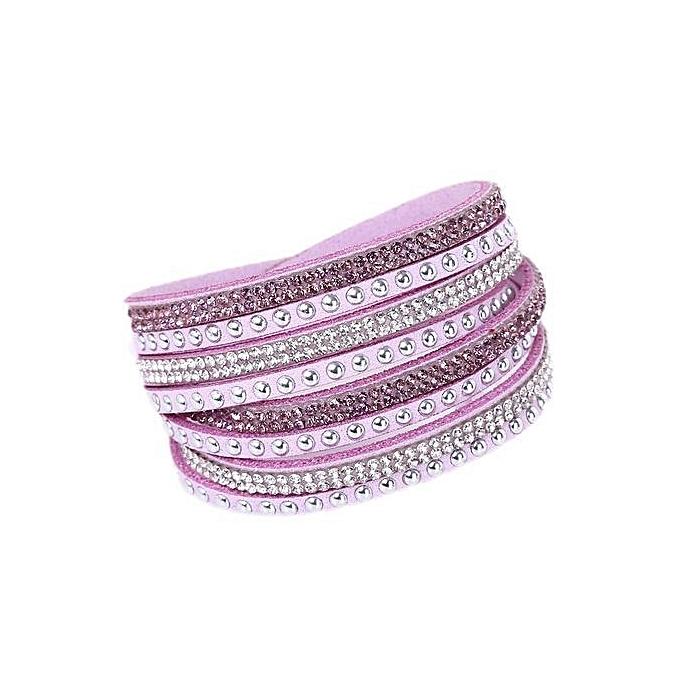 08a18160ef21a 2017 Creative New Fashion Women Ladies R Stylish Mutifunction Multilayer  Leather Rivets Wrap Wristband Cuff Punk Crystal Rhinestone Bracelet Bangle  ...