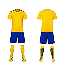 Yellow-High Quality Children Boy And Men's Football Soccer Team Training Sports Shirts And Shorts Jersey Set