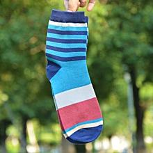 Mens Casual Cotton Medium Socks Design Multi-Color Stripes Socks