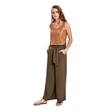 Brown Fashionable Regular Waist Standard Trousers