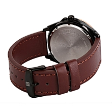 Masculino Leather Strap Watch Men's Quartz Wristwatches NAVIFORCE NF9056-Rose Gold Case + Brown Band