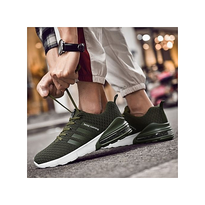 3418329b0363 Fashion Men Running Shoes Casual Breathable Light Sneaker Army Green ...
