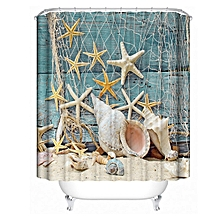 Sea Shell Shower Curtain Waterproof Bathroom Beach Curtain Decor With 12Hooks
