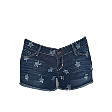 Blue Wash Star Printed Shorts