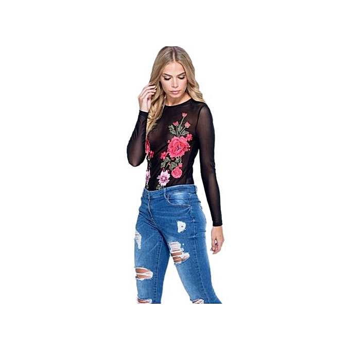 5188187c5b27 ... bluerdream-Women Summer Sexy Embroidery Long Sleeve Rompers Jumpsuit  Leotard L-Black ...
