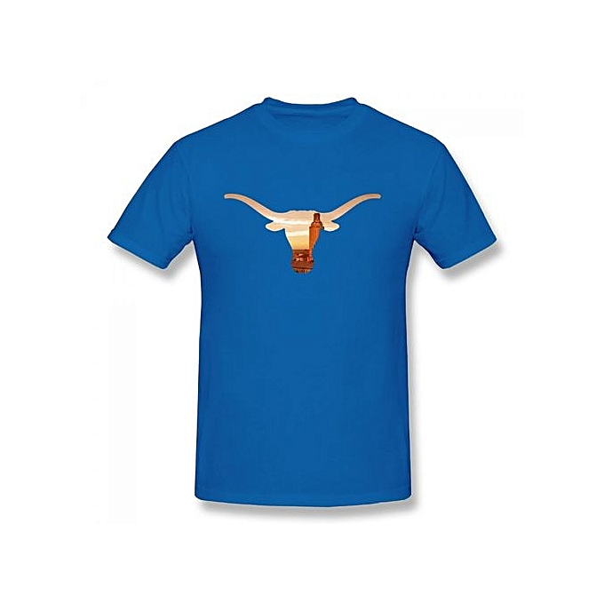449e4459f9e6a8 University Of Texas Austin Mascot Longhorns Men's Cotton Short Sleeve Print  T-shirt Blue