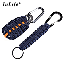 Outdoor Practical Paracord Survival Grenade Shape Kit Carabiner Fishing Tools With Snap Hook Key Chain - Purplish Blue