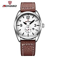 Watches, 80219 Luxury Brand Leather Watches Men Waterproof Auto Date Casual Sports Quartz Watch Dress Business Wrist Watch Male - Brown