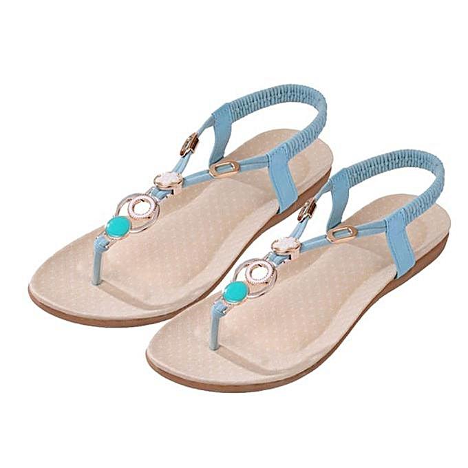 066f587e8ba196 ... bluerdream-Summer Bohemia Sweet Beaded Sandals Clip Toe Sandals Beach  Shoes-Blue (EU