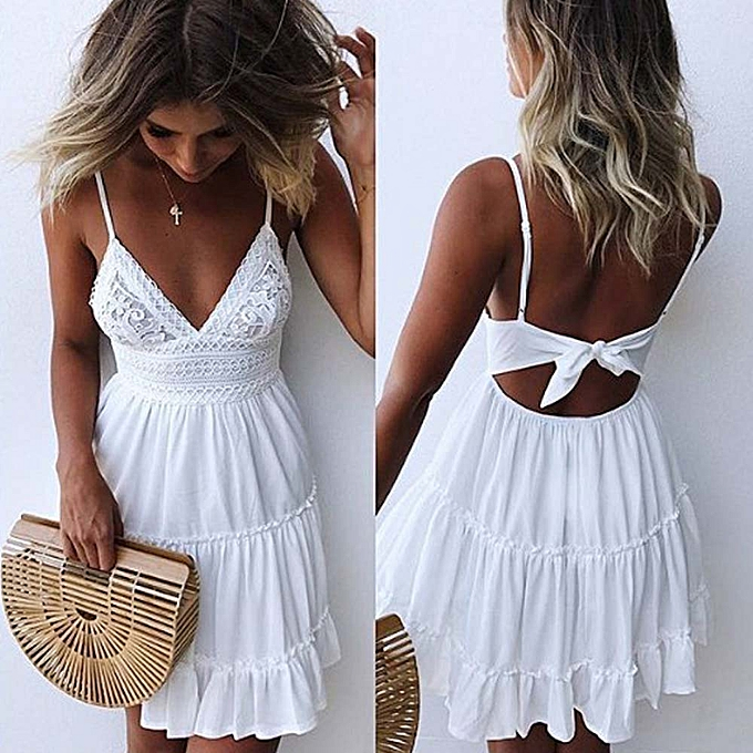 9173be70c7ef Women Summer Backless Mini Dress White Evening Party Beach Dresses Sundress