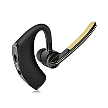 Handsfree business bluetooth headset with mic sweatproof voice control headphone for sports driving noise cancelling earphone (Black Gold)