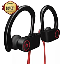 Bluetooth earphones wireless subwoofer headphones super bass black+red