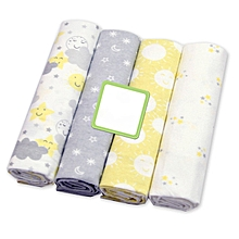 4Pcs Unisex Receiving Blanket baby Cotton Swaddlers - Multicolored