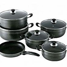 Non Stick Cooking Pots -11 Pieces (Black)