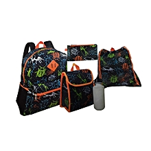 School Bag Set of 5 for Ages 5-8 Years 14 Inch Medium - Black & Orange