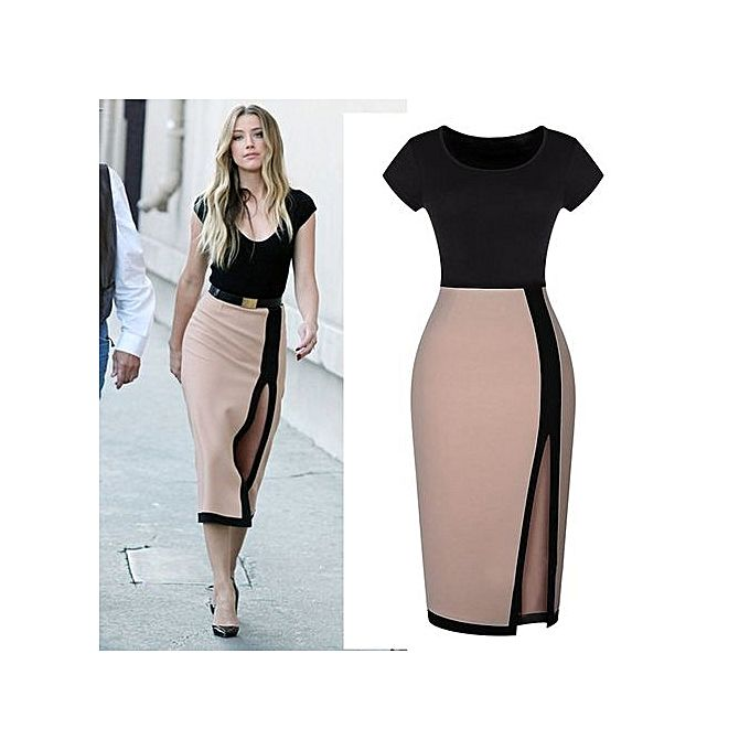 Womens Nice Forever Vintage Elegant Colorblock Patchwork O Neck Bodycon Women Office Wear To