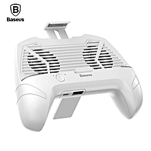 Baseus 3 in 1 Gamepad Multi-Function Universal Game for Phone Radiator Mobile Phone Cooling Fan Holder Stand Game Controller (white) MQSHOP