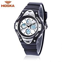 HD024S Dual Movt Kids Sports Quartz Watch Day Alarm Chronograph Display Digital Wristwatch-Black-Black