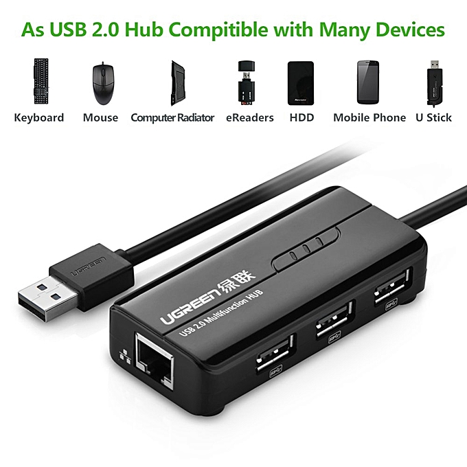 UGREEN RJ45 Ethernet Adapter with USB 2 0 Hub USB Network Adapter  10/100Mbps for Nintendo Switch, Wii, Windows Surface Pro, MacBook  Air/Retina,