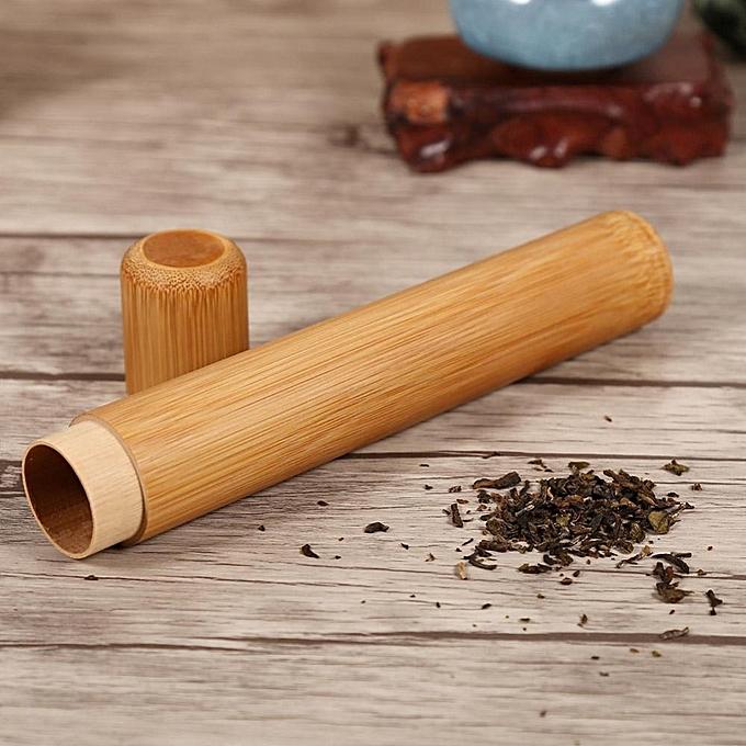 Round Portable Handmade Natural Bamboo Tea Jar Container Box(2 5 X 19cm )