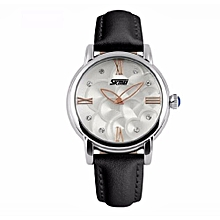 Waterproof Luxury Women Quartz Wristwatch Automatic Camellia Leather Clock Fashion Datejust Ladies Watch Top Quality(Black1)