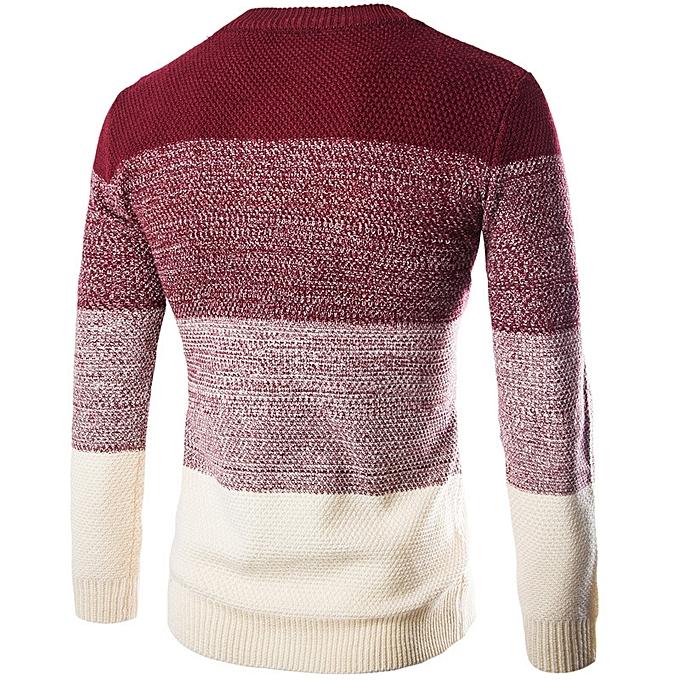 b31eaa4ae1abb6 Generic New men s sweater headband British Slim round neck color  matching-black