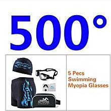 Men's 5 Pecs Myopia Goggles + Cap + Earplugs + Nose Clips + Bag + Swimming Pant(Size:500°)