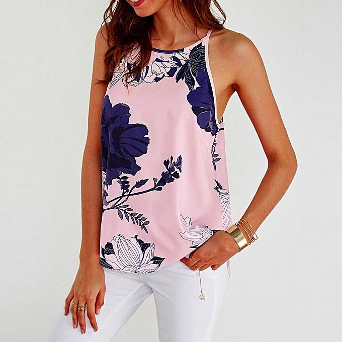 9184138bb3e Generic Women Sleeveless Flower Printed Tank Top Casual Blouse Vest T Shirt  A1