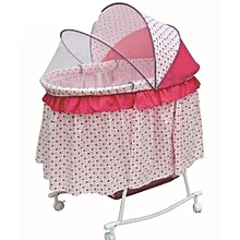 Metal Baby Crib( big size) Rocking Bed Baby Cradle Cot & Baby Stroller With With Fabric Mosquito Net Infant Crib Baby Bed - Pink