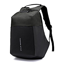 AntiTheft Backpack with USB charging And Code Lock Password - Black